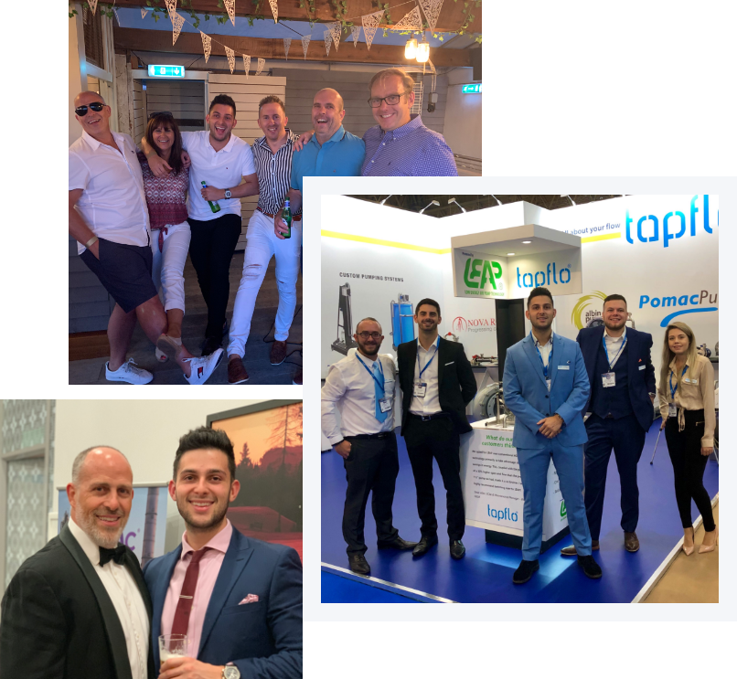 Collage of team pictures from Tapflo UK