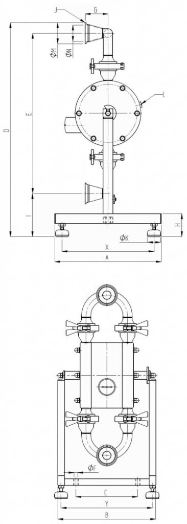 Aseptic Diaphragm Pump Dimensions Diagram