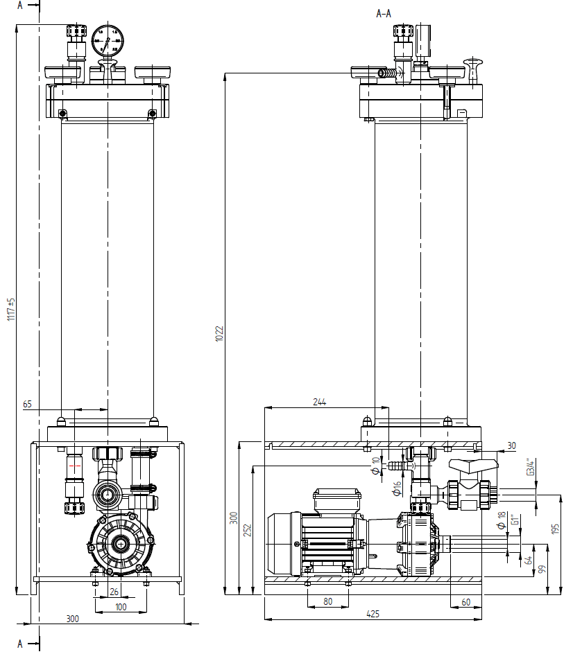 Filtration and Purification System - 160 Dimensions