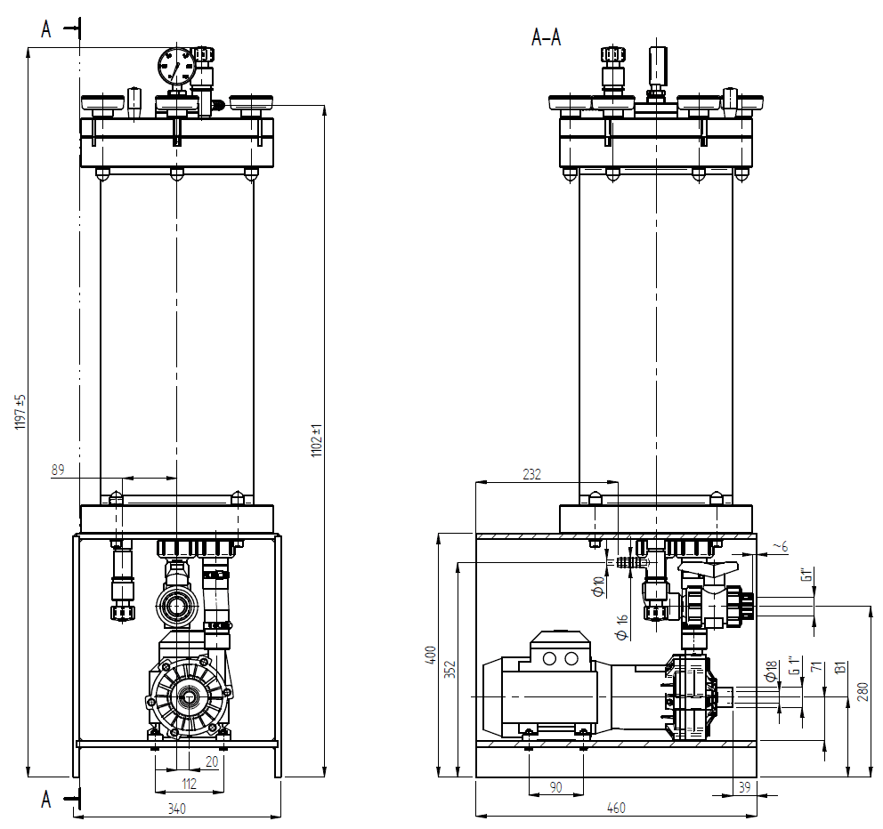 Filtration and Purification System - 210 Dimensions