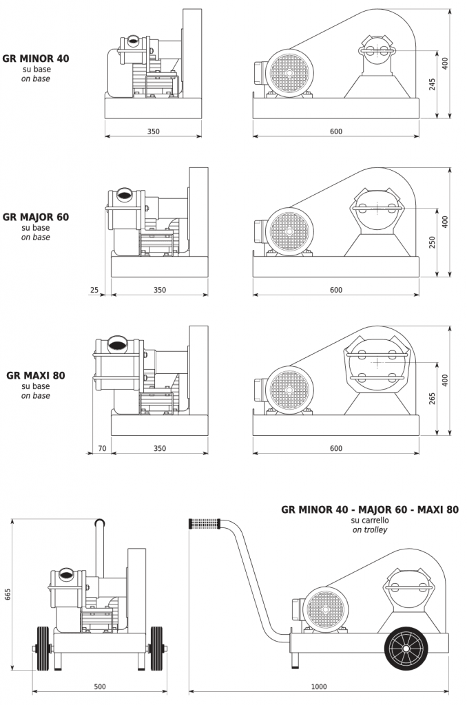 GR Series V-Belt Drive Self Priming Flexible Impeller Pump Dimensions