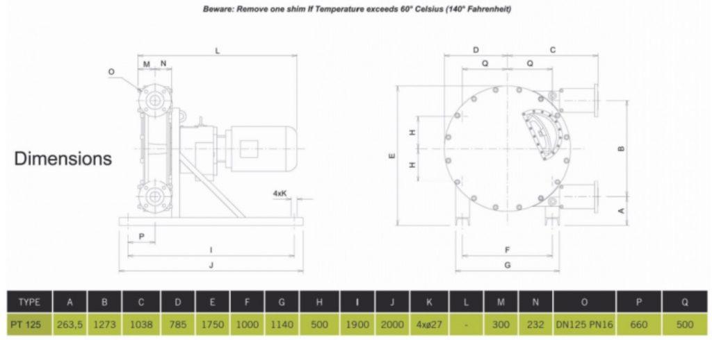 PT125 High Pressure Peristaltic Pump Dimensions