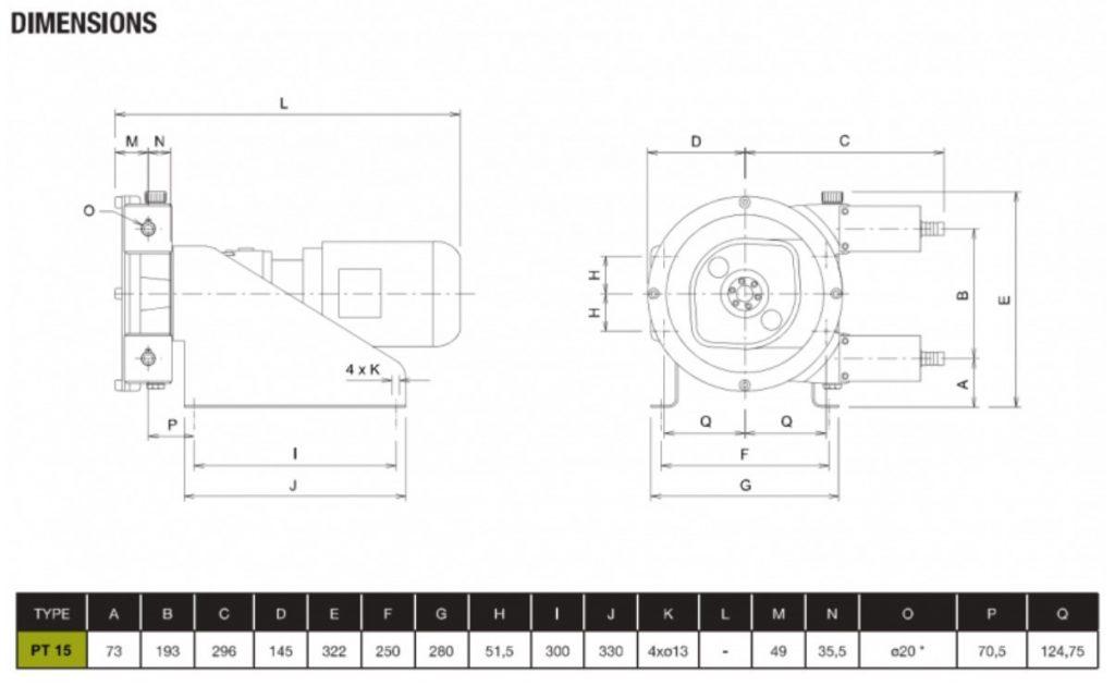 PT15 Peristaltic Pump Dimensions