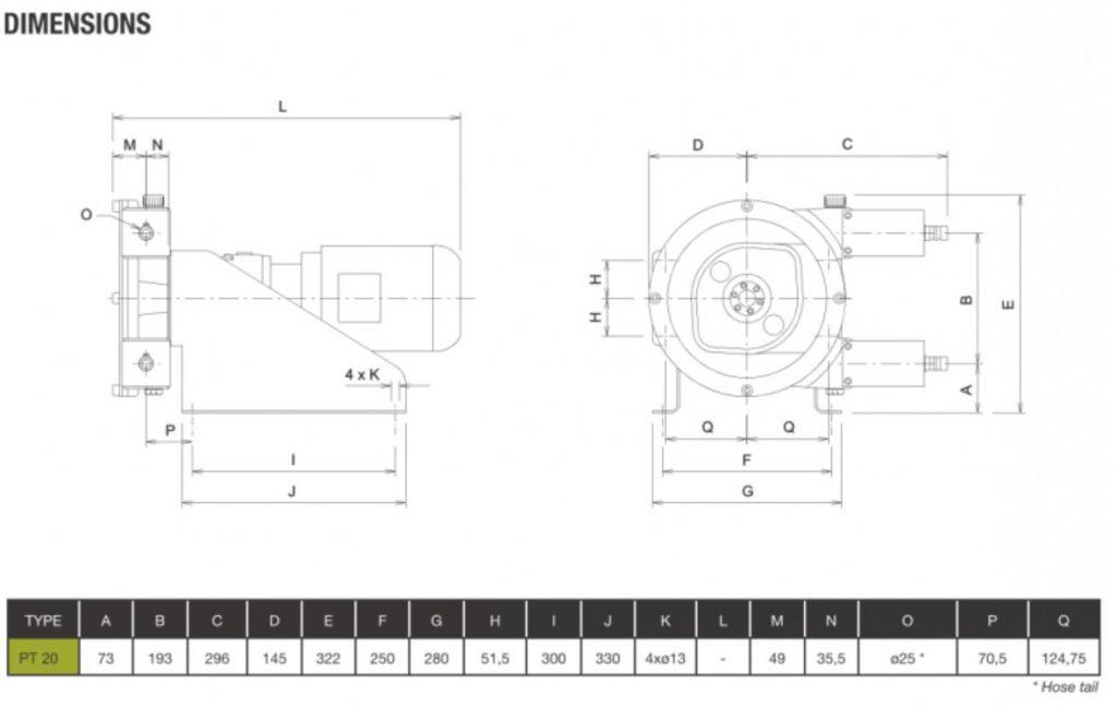 High Pressure Peristaltic Pump PT20 dimensions
