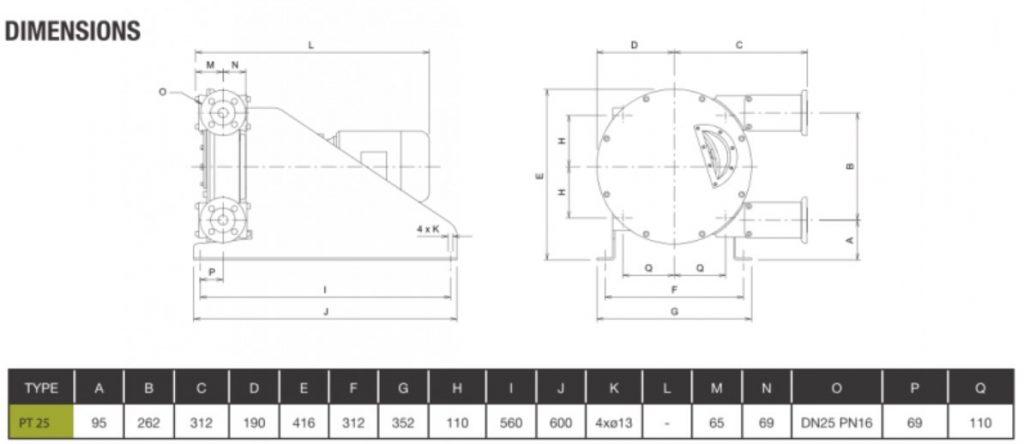 High Pressure Peristaltic Pump PT25 Dimensions