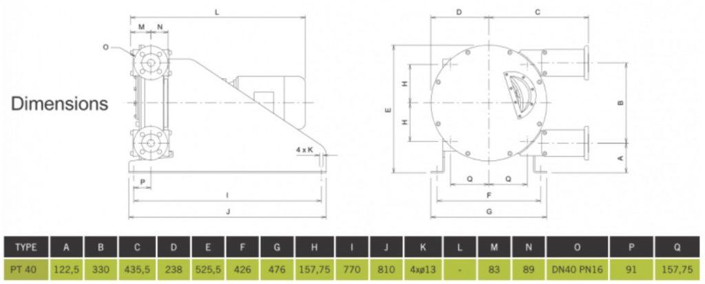 High Pressure Peristaltic Pump PT40 Dimensions