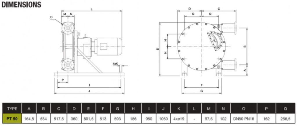 PT50 High Pressure Peristaltic Pump Dimensions