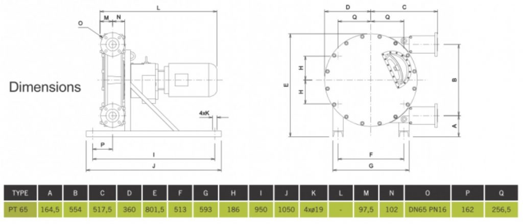 High Pressure Peristaltic Pump PT65 Dimensions