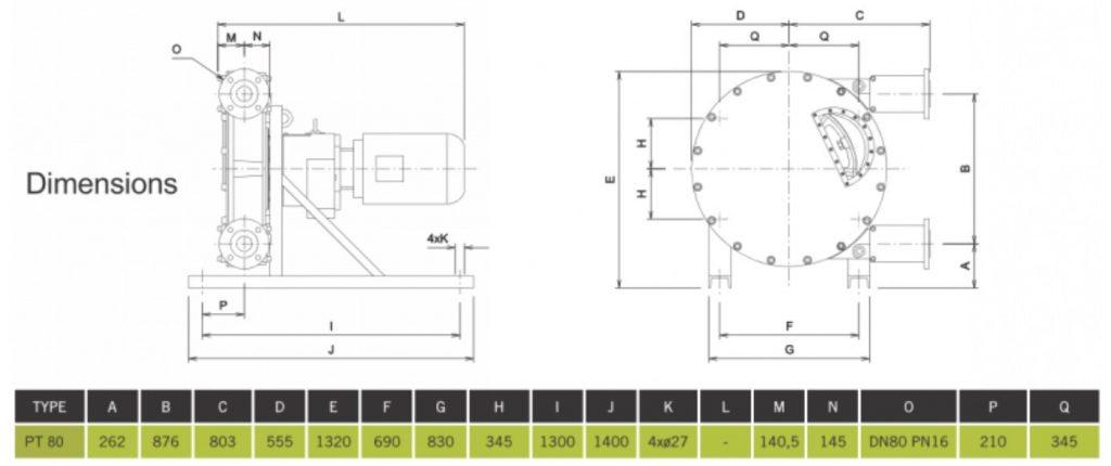 PT 80 High Pressure Peristaltic Pump Dimensions