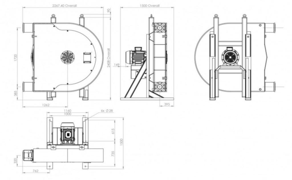 PTX150 ATEX Peristaltic Pump Dimensions