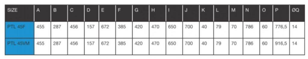 Peristaltic_Pump_ALP, PTL_45_Dimensions_chart