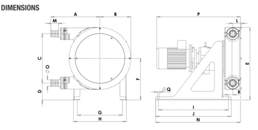 Peristaltic_Pump_ALP, PTL_45_dimensions