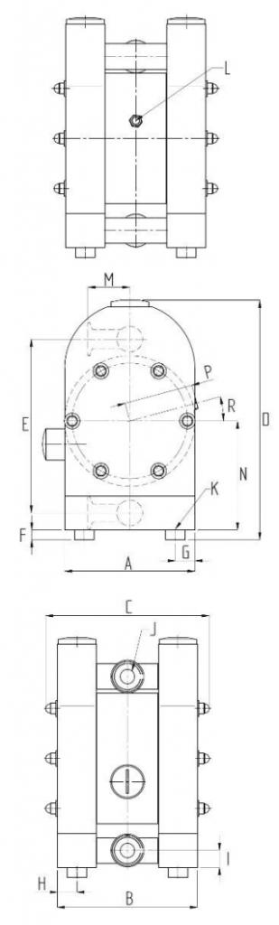 Dimensions of Pharmaceutical Diaphragm Pump
