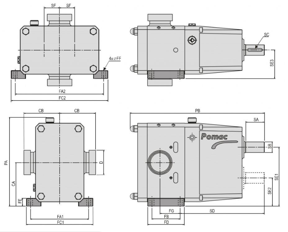 Sanitary Lobe Pump Dimensional Data