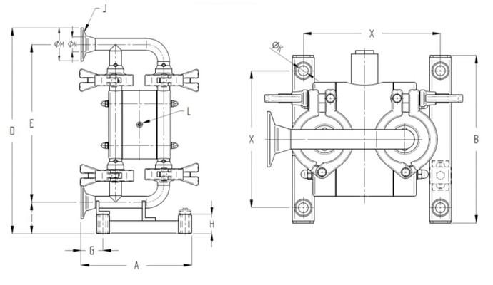 T30 Sanitary Diaphragm Pump Dimensions