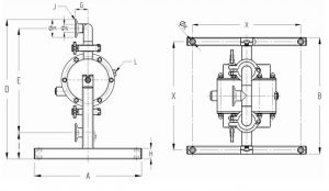 T80-T825 Sanitary Diaphragm Pump Dimensions diagram