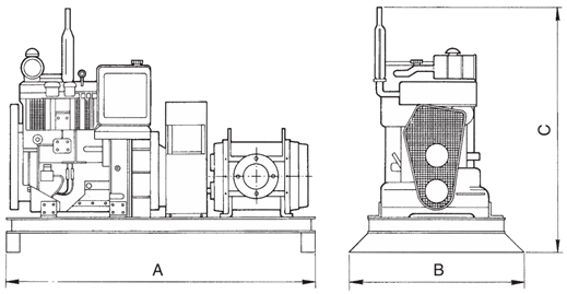 Dimensions for Diesel Driven Rotary Lobe Pump
