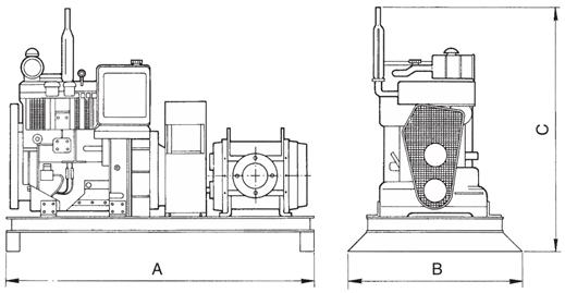 Dimensions for Diesel Driven Rotary Lobe Pump