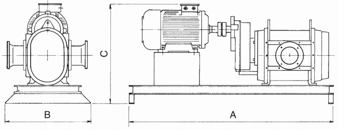 Dimensions for Electrically Driven Lobe Pump